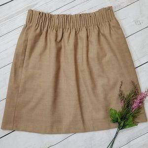 J Crew NWT Tan Pleated Mini Skirt